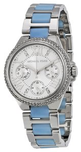 Michael Kors Crystal Pave Silver tone Bue Chambray Stainless Steel Designer Watch