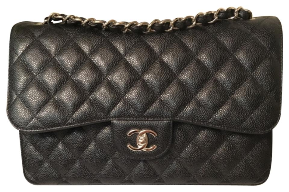 89b05bb31f18 Chanel Double Flap New Classic Jumbo Black Caviar Leather Cross Body Bag