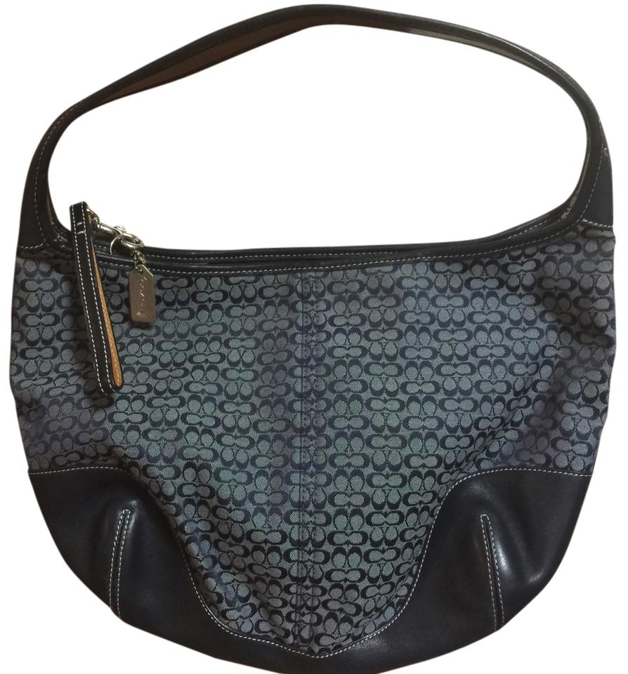 9f61817370 Coach Bluejacquard Signature Navy Blue Fabric/Leather Shoulder Bag ...