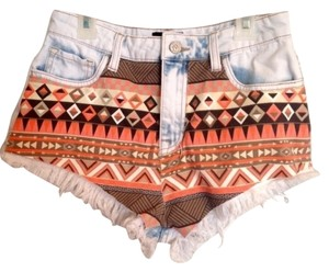 Cello Jeans Cute Aztec High Waisted High Waisted Denim Frayed Shorts