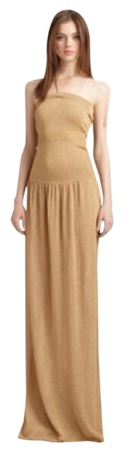 Item - Gold Bcbg Full Length Gown Long Casual Maxi Dress Size 4 (S)