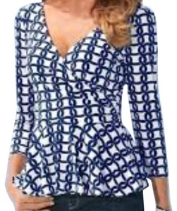 Boston Proper Peplum Print Shaped V-neck Top navy/white