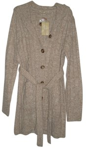 Carolyn Taylor Button Front *belted *2 Hand Pockets *hooded Acrylic Cardigan