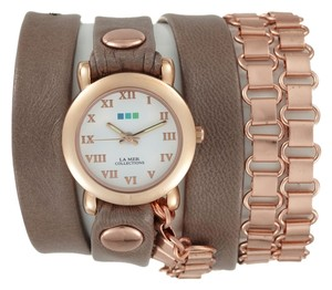 La Mer Collections La Mer Collections mushroom brown leather and rose gold wrap watch