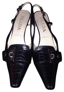 Prada Lowheel Slingback Crocodile Black Pumps