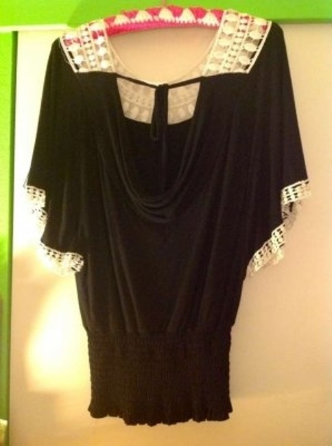 XOXO Top Black with lace design in front and on sleeves