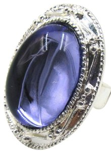 New Purple Silver Tone Adjustable Ring Stretchy Chunky J2213