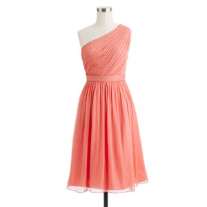 J.Crew Bright Coral Silk Chiffon Kylie - Item #: 13023865 Feminine Bridesmaid/Mob Dress Size Petite 4 (S)