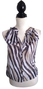 Quintessential Zebra Abstract Semisheer Ruffle Top Taupe