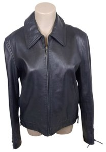 Via Spiga Leather Lace Up black Leather Jacket