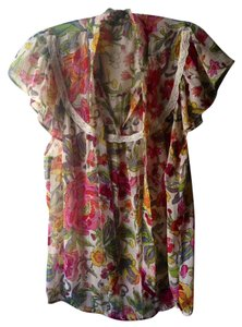 Other Boho Bohemian Floral Hippie Fluttersleeve Top White Pink Yellow Black Green