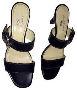 Anne Klein Buckle Hardware Black Silver Sandals