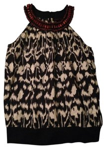 Jennifer & Grace Boho Bohemian Ikat Wood Top Black White Brown