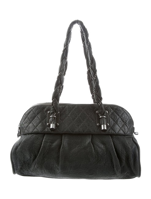 Item - Bowling Bag Quilted Distressed Grey Green Lambskin Leather Satchel