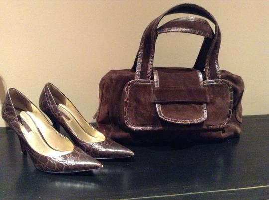 Nine West Chocolate Suede Leather Satchel in Brown