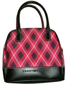 Tommy Hilfiger Small Red Black And White Plaid Handbag. Satchel