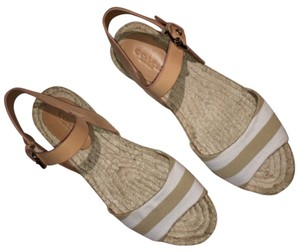 Coach Leather Espadrille Buckle Summer Ivory Tan Sandals
