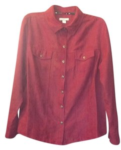 Croft & Barrow Soft Button Down Shirt berry red