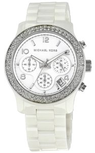 Michael Kors Crystal Pave Bezel Silver Stainless Steel White Ceramic Ladies watch