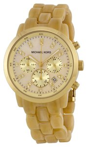 Michael Kors Gold tone Horn Acetate Casual Designer Watch