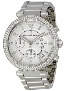 Michael Kors Crystal Pave Silver Stainless Steel Ladies Designer Fashion Watch