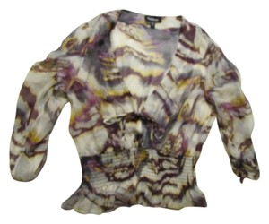 bebe Low Cut Top Multi Print