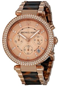 Michael Kors Crystal Pave Rose Gold Tortoise Shell Stainless Steel Designer Ladies Watch