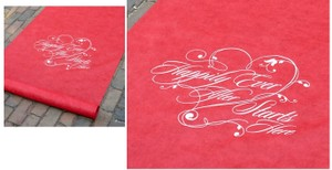 Hortense B. Hewitt Red/White Happily Ever After Printed For Elegant Happily Ever After Theme Theme Aisle Runner