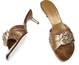 Enzo Angiolini Embellished Beaded Bronze Mules