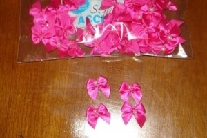 Hot Pink 2 Loop Bow W/Pearl