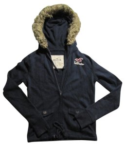 Hollister Hooded Zip Up Navy & Fur Jacket