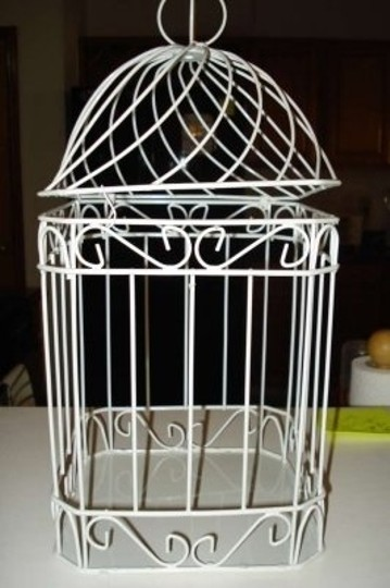 White Bird Cage/Card Holder