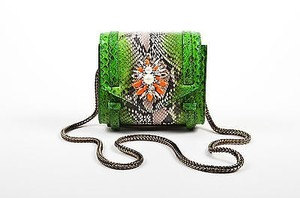 Shourouk Green Python Crystal Embellished Daktari Mendoza Shoulder Bag