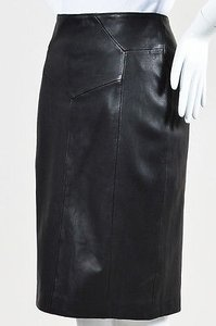 Reiss Leather Seam Skirt Black