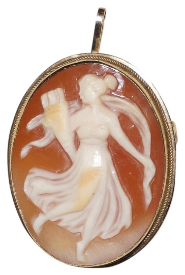 Other Antique English Art Nouveau 18K Shell Cameo Brooch Goddess Muse Pendant Pin