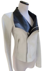 VEDA White Leather Trim White/Black Leather Jacket