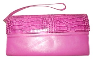 Lodis Leather Croc Wallet Wristlet in pink