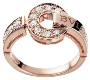 BVLGARI BVLGARI BVLGARI 18 kt pink gold ring with pave diamonds AN855854