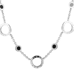 BVLGARI BVLGARI 18K WHITE GOLD BLACK AGATE NECKLACE