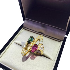 BVLGARI BVLGARI 18K YELLOW GOLD SAPPHIRE DIAMOND RING AN854297 US 6.5