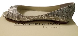 Benjamin Adams Sparkle Leather Wedding Studded Peep Toe Swarovski Crystals Flats