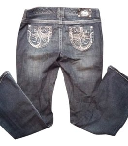 Vanity Embellished Boot Cut Jeans-Distressed