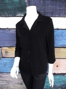 Coldwater Creek Slinky Travel Knit Cardigan Sweater Black Jacket