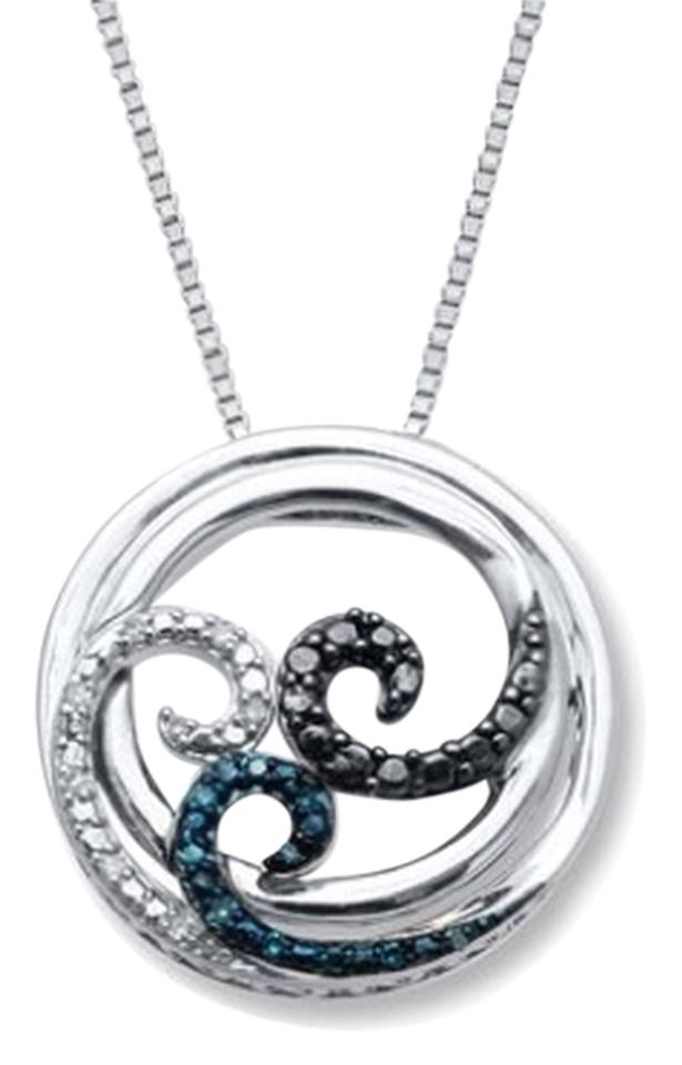 8c65477a214 Jared Open Hearts Waves Diamonds Sterling Silver Necklace Image 0 ...