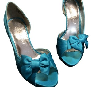 David's Bridal Wedding Peep Toe turquoise, tiffany blue, malibu blue Formal