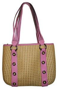 Maxx New York Jute Leather Shoulder Tote in tan & pink