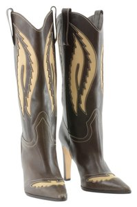 Manolo Blahnik Cowboy Tan and Brown Boots