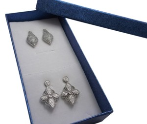 Gift Set- Estate Fashion Earrings in Platinum Bonded Brass w Free Shipping