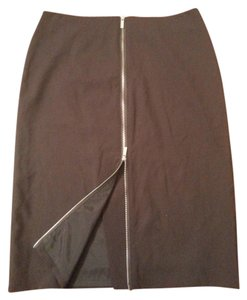 Calvin Klein Pencil Zipper Skirt Brown