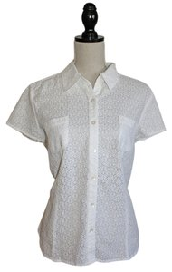 J. Jill Top White Eyelet Lace
